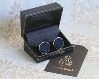 Navy blue Harris tweed silver plated cufflinks  | Wedding Cuff links | Best Man Gift | Wedding Favours