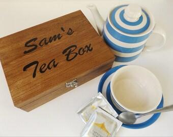 Personalised tea box - Wooden tea box - Tea storage - Kitchen storage - Tea gift - Personalised gift box - Drinks storage - Tea bag box