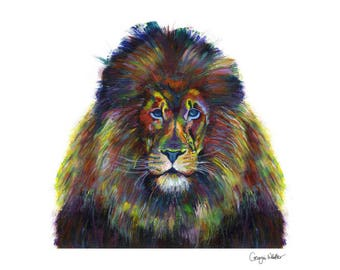 Colourful Lion 'Clive' - limited edition fine art giclee print