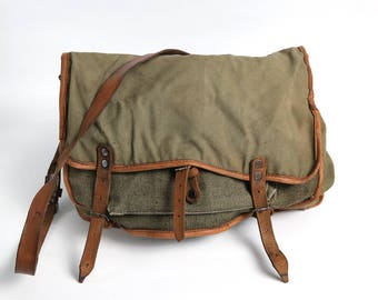Distressed Canvas Leather Military Bag, Green Messenger Crossbody Bag, 70s Canvas USSR Haversack, Messenger Crossbody Military Canvas Bag