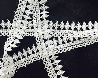 2 YARDS White Lace Crochet Trim Ribbon