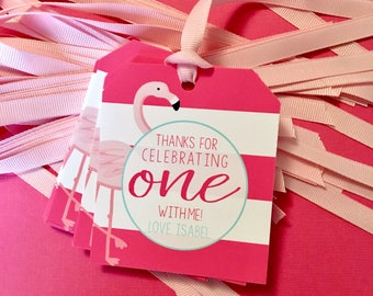 Flamingo First Birthday Thank You Tags - Pink Flamingo Party Favor Tags - 1st Birthday Party Favors - Tropical Birthday Favors - Kids Party