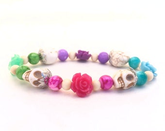 Ready to Ship SALE! Day of the Dead Beaded Bracelet, Purple, Blue, Green, Pink
