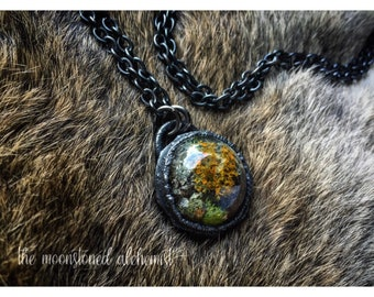 Nature blob amulet - real moss, colorful lichen, and bark immortalized and set in dark copper - forest treasures yellow orange