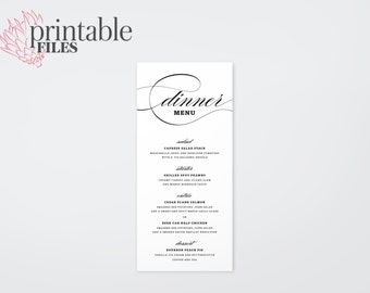 The Willow Romantic Calligraphy Wedding Menu Card (Printable)