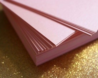Pink Cardstock, 5 x 7 Cardstock, Pink Metallic Paper for Wedding Invitations and Placecards, Paper Supplies, 5 x 7 Blank Rose Pink Cardstock