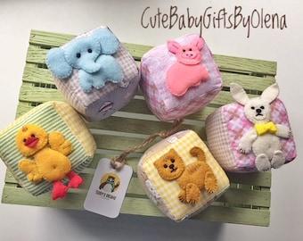 Blocks toy fabric set for baby first toy nursery plushies blocks cotton plush soft baby gift felt animals handmade felt blocks set games