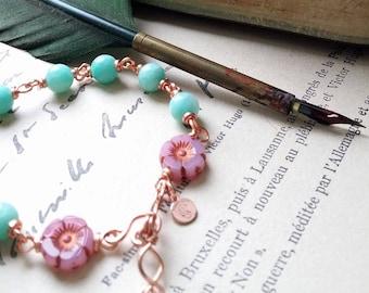 """Bracelet """"Le sourire"""" - Bracelet Amazonite du Brésil de superbe qualité, réglable en verre tchèque. Par Angel'S SignS"""