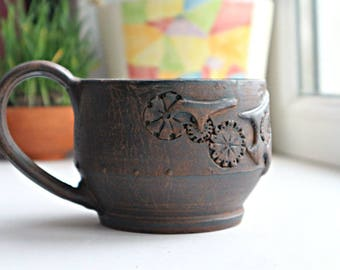 Ceramic cup, Steampunk cup, Steampunk mug, Pottery tea cup, gift for boyfriend, gift for friend, gift for man, Ceramic tea cup