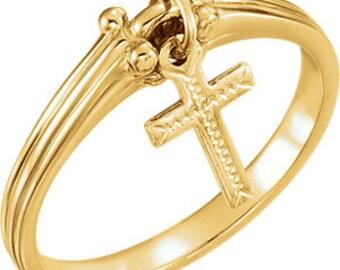 14K Yellow Gold Dangle Charm Cross Ring Religious Jewelry
