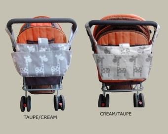 pram caddy - kid's wheelchair bag organiser-wheelchair bag-giraffe stroller organiser - giraffe pram bag - animal pram organiser
