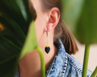 Black berry earrings, Contemporary earrings, modern earrings, polymer clay earrings, Statement earrings Dangle earrings, fruit earrings