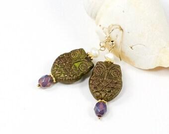 Owl Earrings, Green Owl Earrings, Green Gold Pearl Earrings, Owl Dangle Earrings, Solana Kai Designs, Portland Oregon