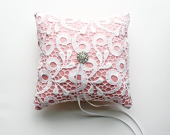 Pink Ring Pillow, Lace Ring Pillow, Ring Cushion, Ring Bearer Pillow