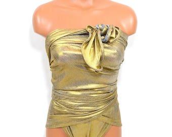 Reversible Large Bathing Suit One Wrap Around Swimsuit Metallic Gold w/ Silver Grey Evening Swimwear High Waisted Bikini Gold Body Suit