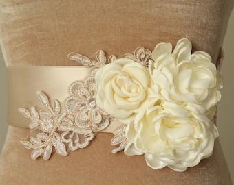 Floral Bridal Sash / Lace Bridal Sash /  Ribbon Sash
