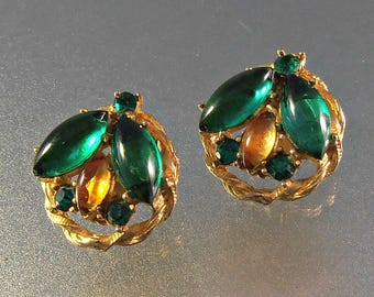 Fruit Salad Rhinestone Earrings, Clip On, Glass Cabochons, Green Yellow