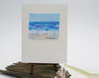 Beach greeting card, Original art card, blank card, Beach mini painting, card, Beach birthday card, Beach love, on 3 1/2 x 5 card