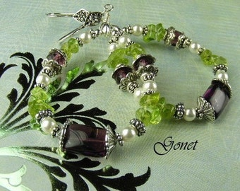 Gemstone Hoop Earrings (Lady Fair) (Heather Collection) by Gonet Jewelry Design