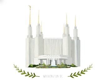 Washington DC LDS Temple Illustration - Archival Art Print