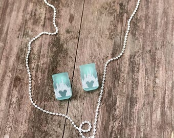 Castle with Mickey Head Earrings with Necklace Set in Caribbean Blue