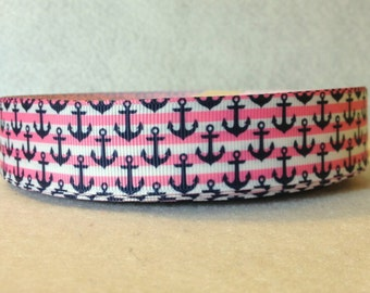 1 Inch Pink Stripes and Navy Nautical Anchors