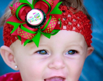Baby Christmas Hair Bows - My First Christmas - Newborn Christmas Hair Bow - Red and Green Hair Bow - Christmas Hair Clip - Newborn Hair Bow