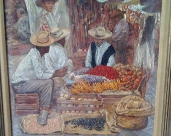 Original Oil Painting of a Mexican Market Place 1961 by H. Carlton