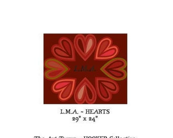 """L.M.A. ~ Hearts ~ 29"""" x 24"""" Paper Pattern for HOOKED RUG by The Art Tramp/HOOKER Collection"""