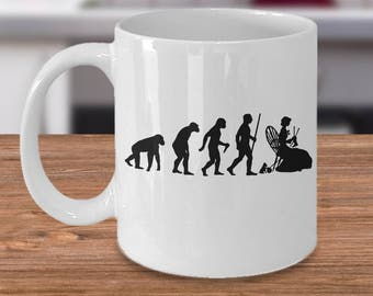 Funny Knitting Mug - Evolution of Humanity - Gift for Her - Knitting Present - Birthday Gift Idea