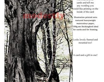 Nature card, bespoke card, Birthday Card, artist Greeting Card, Custom card, Handmade art card , Trees card, anniversary card