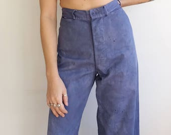 Vintage Over Dyed Blue Sailor Trousers/ High Waisted Button Fly Navy Uniform Pants/ Size 29
