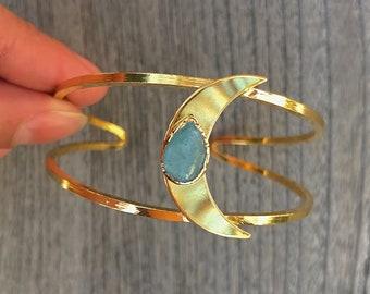 Gold Moon Bracelet // Moon Cuff Bracelet // Larimar Cuff Bracelet