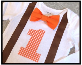 Boys First Birthday Outfit - Boys Fall Birthday Outfit - Orange and Brown Birthday - Baby Boy Clothes - Fall Birthday Outfit - 1st Birthday