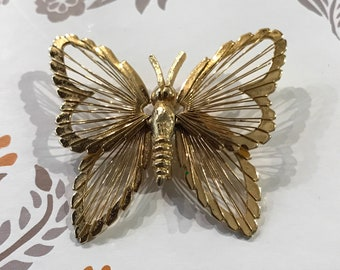 Vintage Mone Gold-tone Open-work Large Butterfly Brooch/1950s