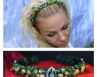 Beautiful headband dolce green. Ободок зелёный узкий долче.