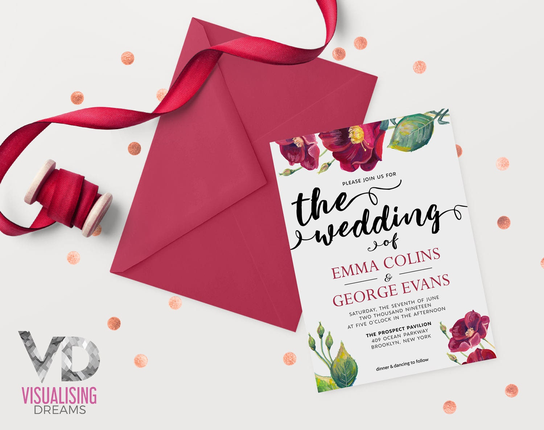 Boho Wedding Invitation Watercolor Wedding Invitation