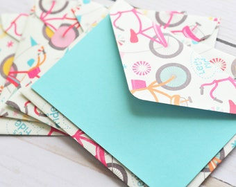 Colorful Bicycle Mini Cards // Set of 4 // Blank Cards // Gift Card Envelopes // Enclosure Cards // Lunchbox Notes // Love Notes
