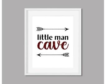 Little Man Cave Print Red Buffalo Plaid Arrow Printable Wall Art Rustic Tribal Sign Home Decor Red & Black Nursery 8x10 Digital Download