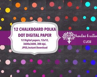 Polka dot digital paper chalkboard paper chalkboard texture chalkboard Polka dots paper Scrapbook paper polka dot paper  instant download