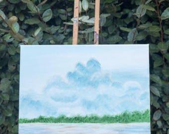 8x10 original landscape painting, canvas art, wall decor, wall art, sky art, coastal painting, nature art, island art, bay art, water art