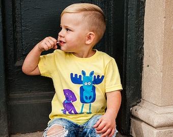 Cute Dog Shirt, Moose T-Shirt, Girls T-Shirt, Boys T-Shirt, Gender Neutral Baby Kids Toddler Shirt, Baby Gift, Short Sleeve T-Shirt, Animals