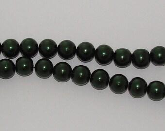 10 diameter 14mm Green Pearl glass beads