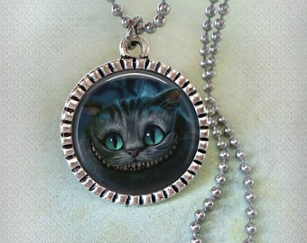 Cheshire Cat Grin Necklace, Men, Women, Teens, Kids, Alice in Wonderland Fans, Birthday Gift, Black Cheshire Cat, Cat Lovers, Crafted w-Love