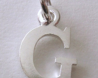 Genuine SOLID 925 STERLING SILVER 3D Initial G Letter Pendant