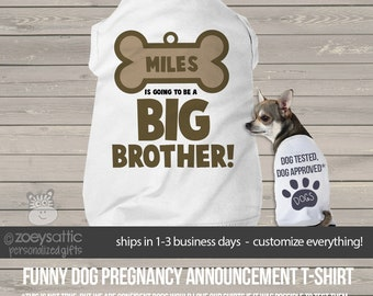 Dog big brother to be shirt- doggie bone dog tshirt perfect for first baby pregnancy announcement and dog lover MPUP-004-ds