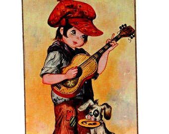 Vintage Retro,  Hobo Boy Playing Guitar, Dog, Wooden Wall Plaques, Pictures,