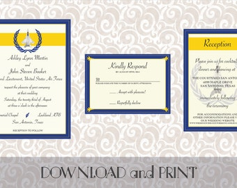 Printable Air Force/Military Themed Wedding Invitation, RSVP Card and Reception/Info Card