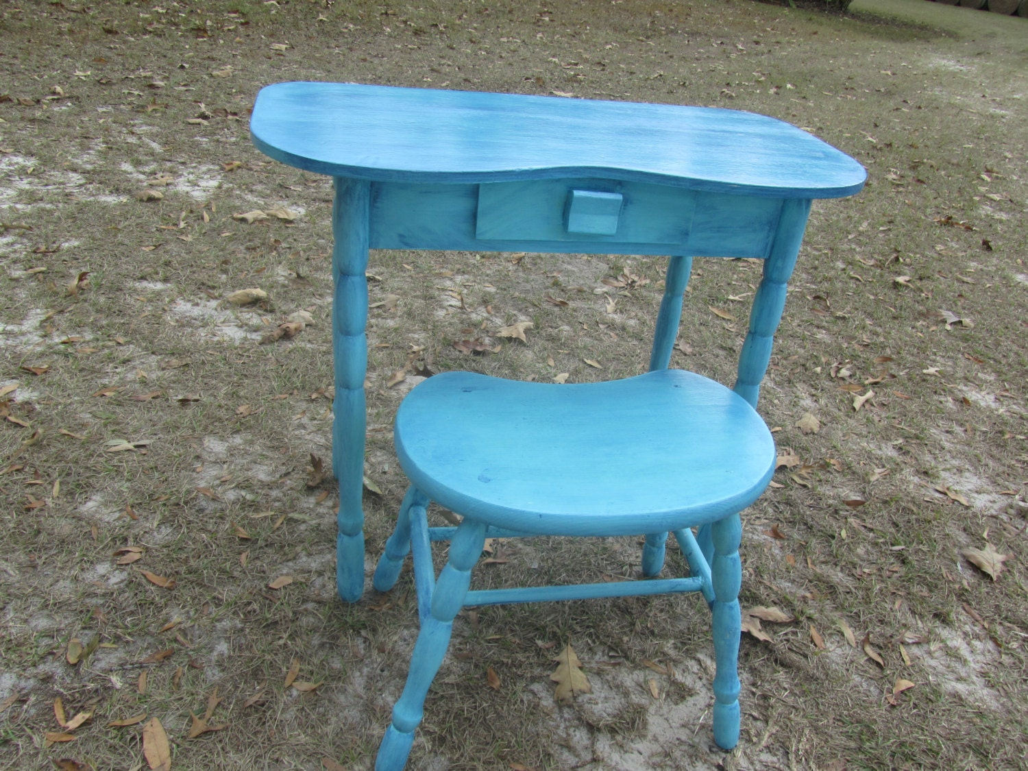 Shabby Chic Vanity Desk and Stool Wood Desk and Stool
