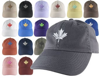 Custom Canadian Maple Leaf Your Color Choice Embroidery on Your Selection of an Adjustable Unstructured Baseball Cap Dad Hat Style Canada
